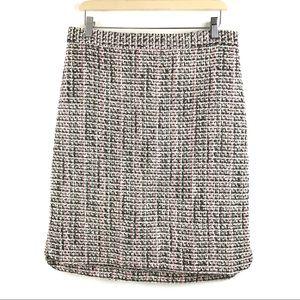 Ann Taylor Lined Black Pink Tweed Straight Skirt 8